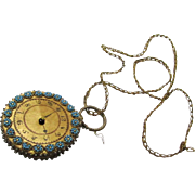 Exquisite Beaded Watch-form Pin Wheel & Chain, Regency