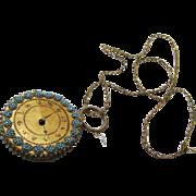 Exquisite Beaded Watch-form Pin Wheel & Chain, Regency