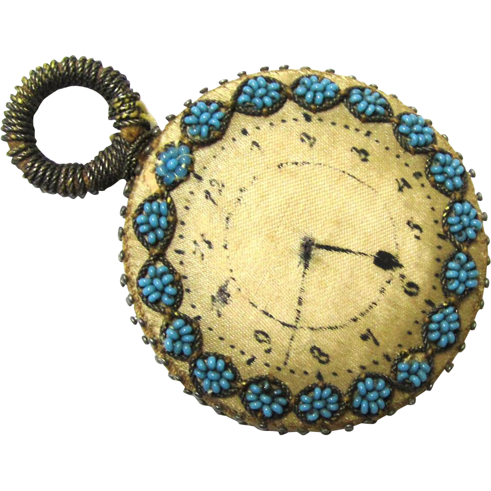Special Hand-crafted Watch-form Pin Wheel with Floral Decoration and Painted Watch Face, early Victorian