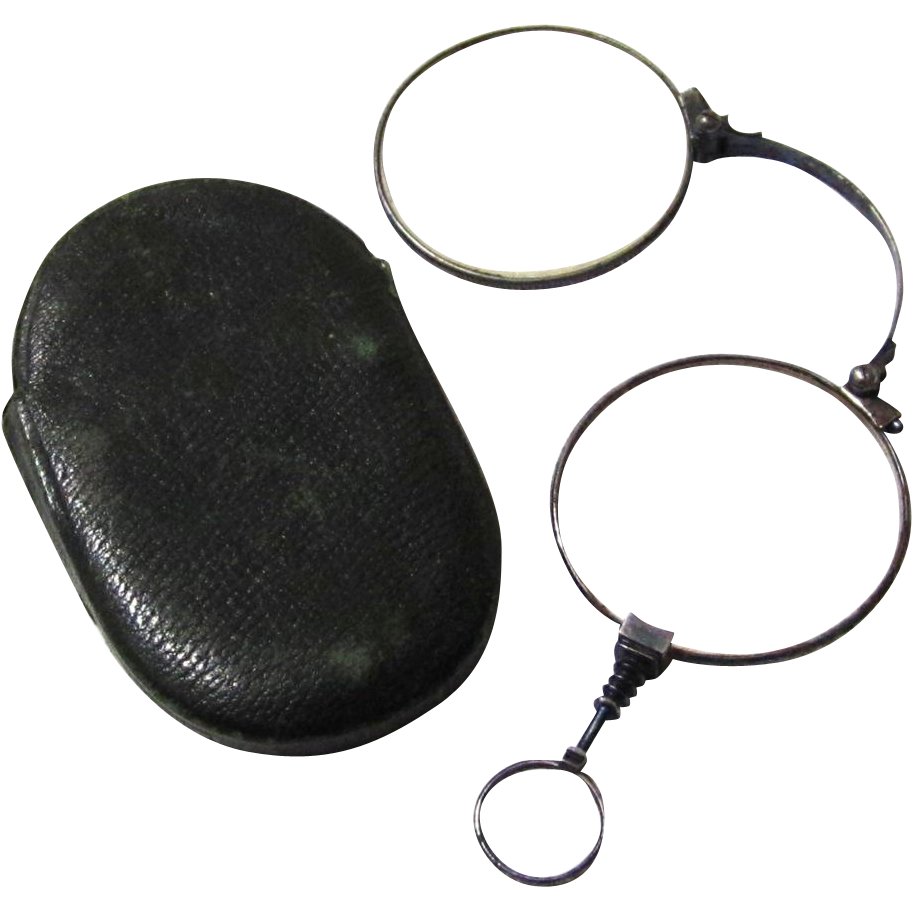 Antique Blued Steel Folding Lorgnette in Original Leather Pouch, 19th Century