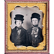 Extraordinary Daguerreotype of Two Gentlemen wearing Fascinating Hats, One with Gold Pin & Watch Chain, c1850