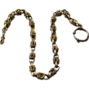 Vest Chain of Gilt Metal, More Masculine, with Bolt Ring & Swivel, Victorian