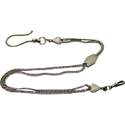 Interesting Silver Vest Chain with Swivel, Slide & Large Hook for Security, late Victorian