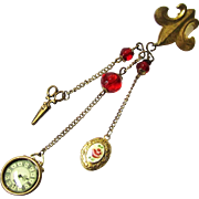 Charming Complete Doll Chatelaine with Watch, Locket & Scissors, Vintage