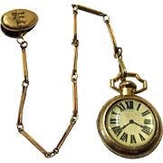 Stylish Complete Doll Pocket Watch with Vest Chain & Clip, Vintage