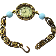 Wristwatch for a Doll, with Blue Jumeau Beads, Vintage