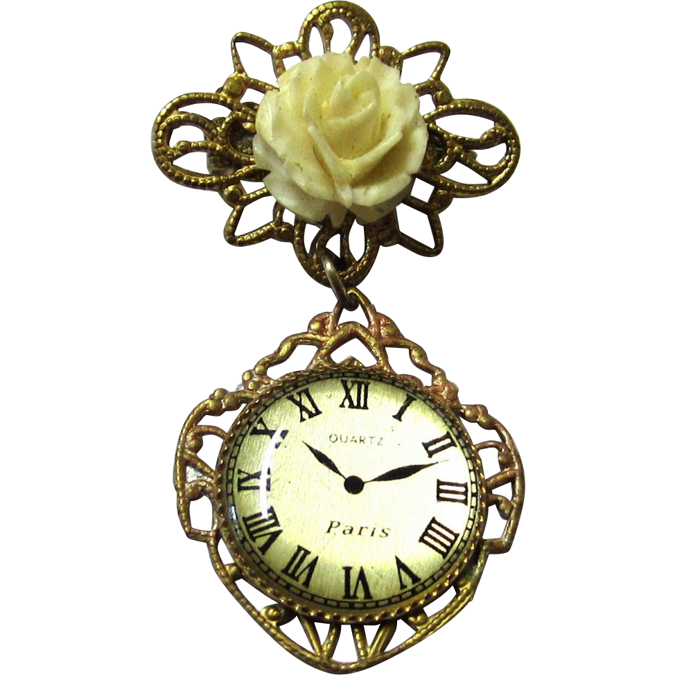 Pretty Brooch-form Doll Watch, Vintage