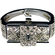 Ladies Ledo Rhinestone Bangle Wristwatch, c1949