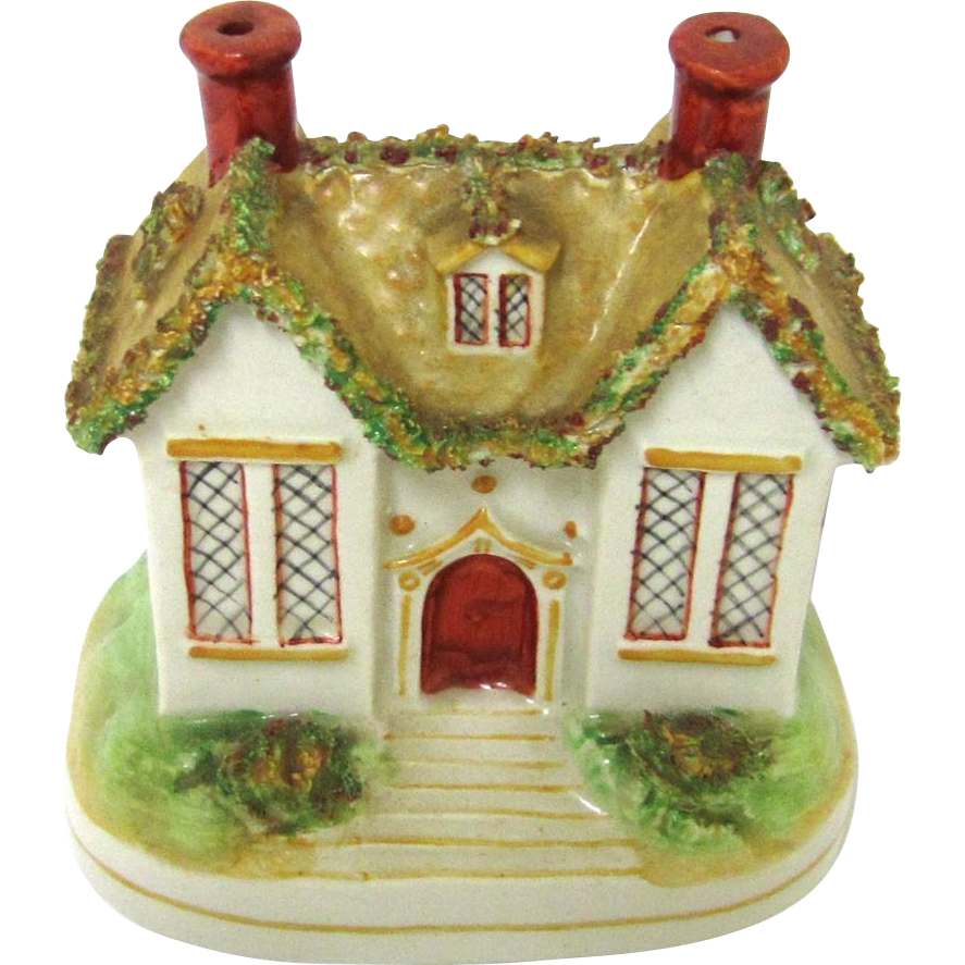 Charming Staffordshire Ceramic Still Bank/Money Box in Cottage-form, c1910
