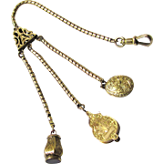 Exquisite 15 Carat Gold Queen (Vest) Chain with Seal, Locket & Magnifying Glass, Victorian