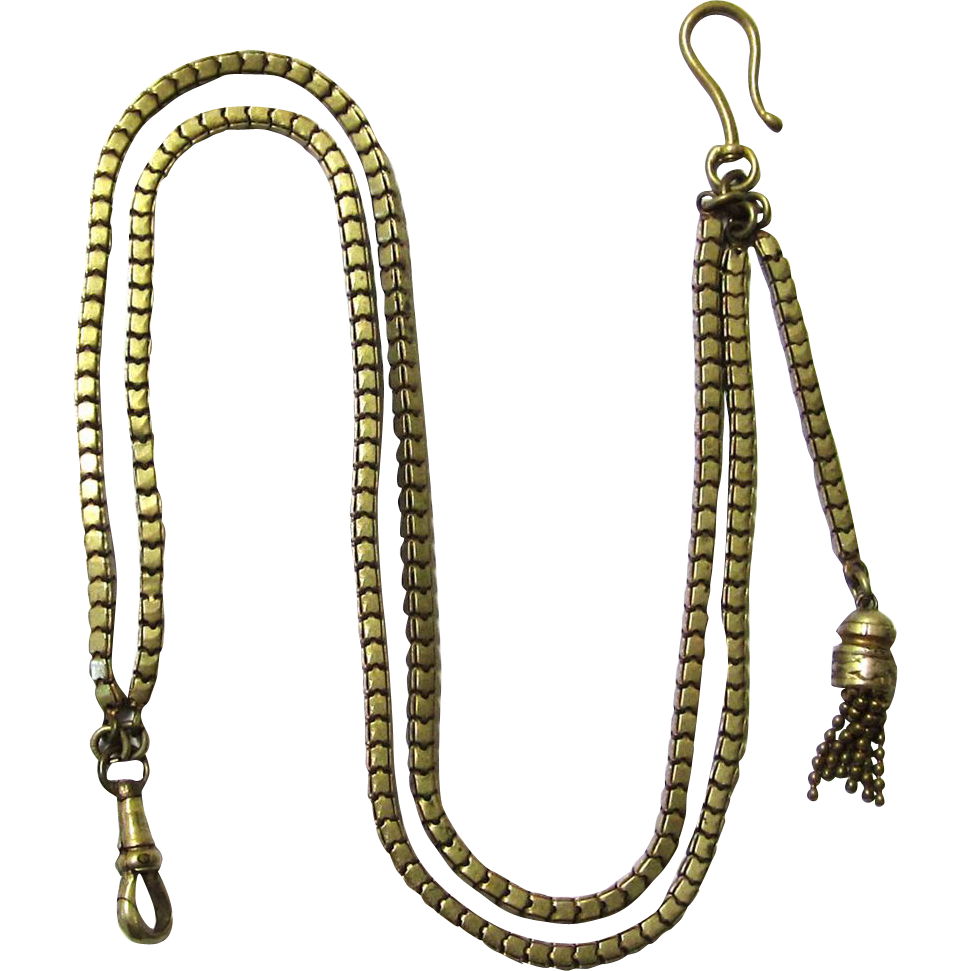 Attractive Gilt Metal Vest Chain with Tassel & Buttonhole Hook, late Victorian