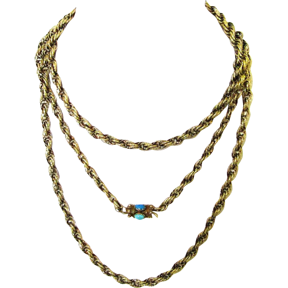 Stunning Regency Gold Long Rope Chain with Turquoise & Gold Clasp