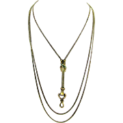 Fine Gold Guard Chain with Turquoise Decorated Slide, Hand Holding Early Screw-up Swivel, early Victorian