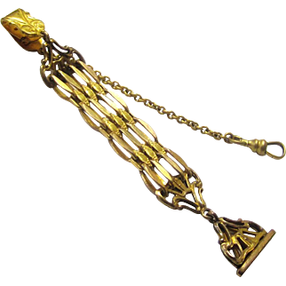Stylish Gilt Metal Fob Chain with Long Linked Chains & Seal, late Victorian