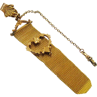 Gilt Metal Fob Chain of Metal Mesh with Heart Adornment, late Victorian