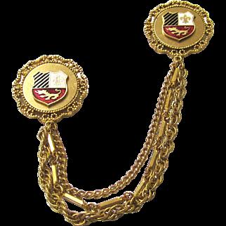 Vintage Enamel Shield Chatelaine Pin Set