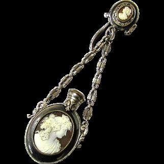 Exquisite Cameo Perfume Bottle/Fan Chatelaine, Maker 'MT', c1880