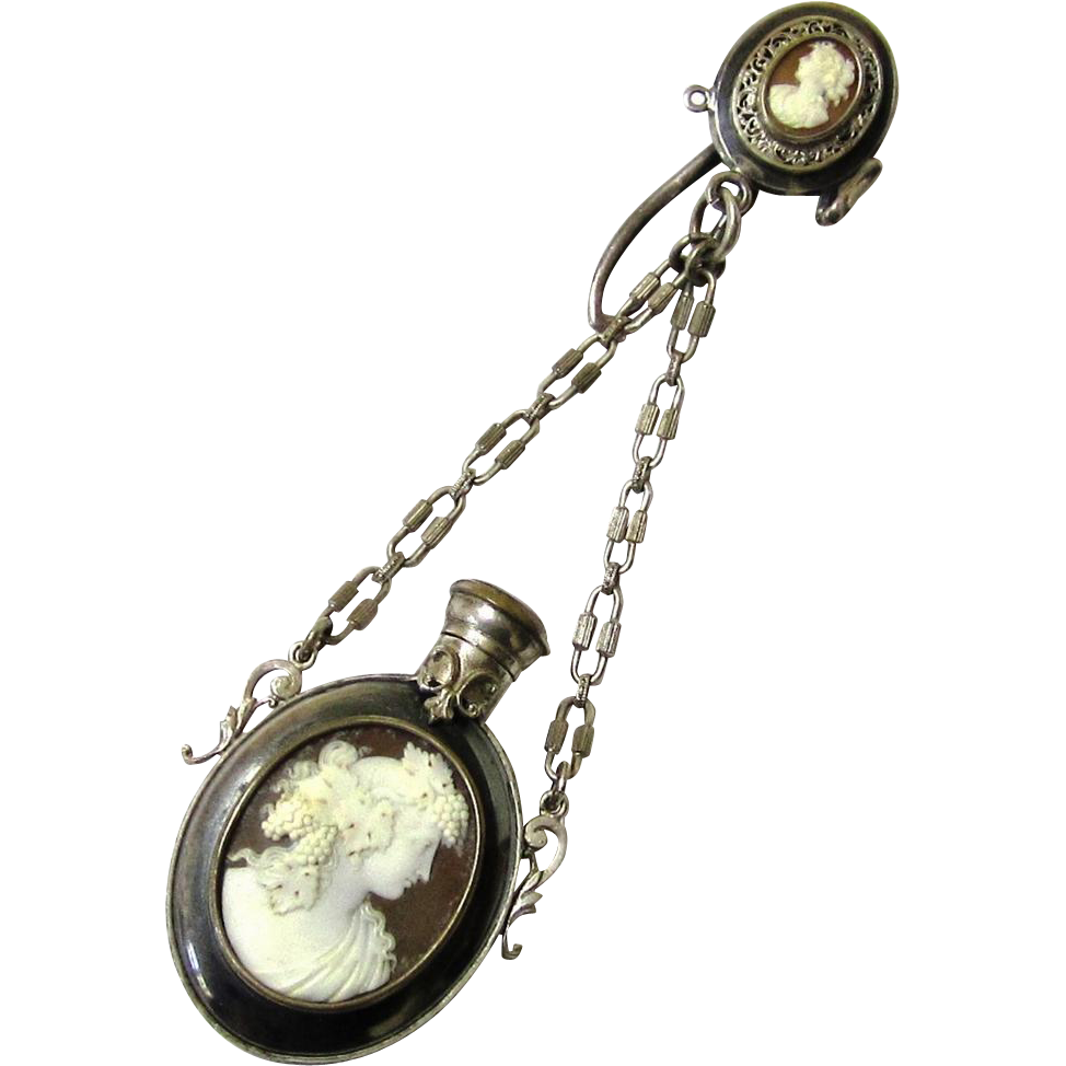 Exquisite Cameo Perfume Bottle/Fan Chatelaine, Maker 'MT', c1880