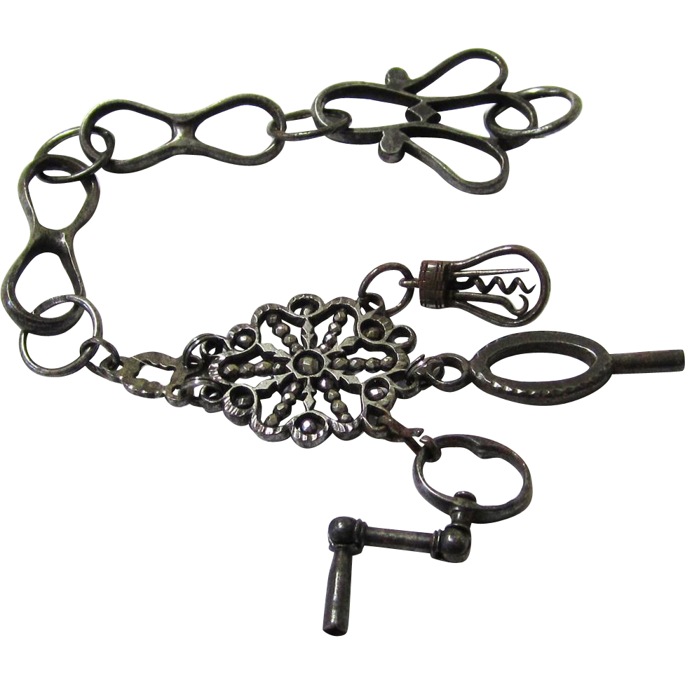 Rare Decorative Steel Watch Chain with Appendages of Crank Key & Miniature Tools, c1780