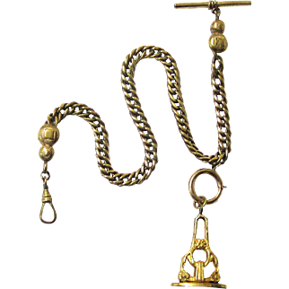 Classic Gilt Metal Vest chain with T-bar, Swivel, Bolt Ring & Seal, late 19th Century