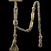 Elegant 9 Carat Gold & Enamel Albertina/Leontine Watch Chain, mid-Victorian