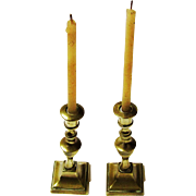 Rare Pair of Brass Tapersticks/Taper Sticks with Tapers, 18th Century