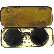 Vintage Automobile Competition Goggles, French, in Original Tin Box