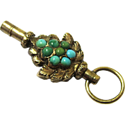 Pretty 10 Carat Gold & Turquoise Watch Key, mid-19th Century