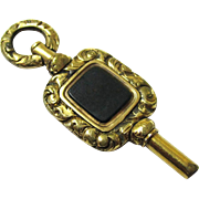Stylish Bloodstone & Gold-filled Watch Key, Victorian