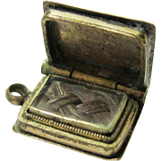 Tiny Book-form Gold Locket with Plaited Hair, Sentimental/Mourning, Victorian