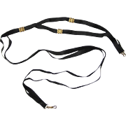 Rare Black Silk Ribbon & Gold Nurse's Guard Chain, late 19th Century