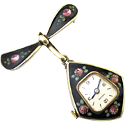 Complete Black & Floral Enamel & Silver Gilt Art Deco Brooch Watch, Huguenin