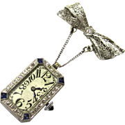Brilliant Platinum, Sapphire & Diamond Art Deco Brooch Watch, Etna Watch Co, Swiss