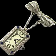 Brilliant Platinum, Sapphire & Diamond Art Deco Brooch Watch, Etna Watch Co, Swiss