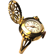 Delicate 18K Gold Ladies Lidher Ring Watch with Cover, Vintage