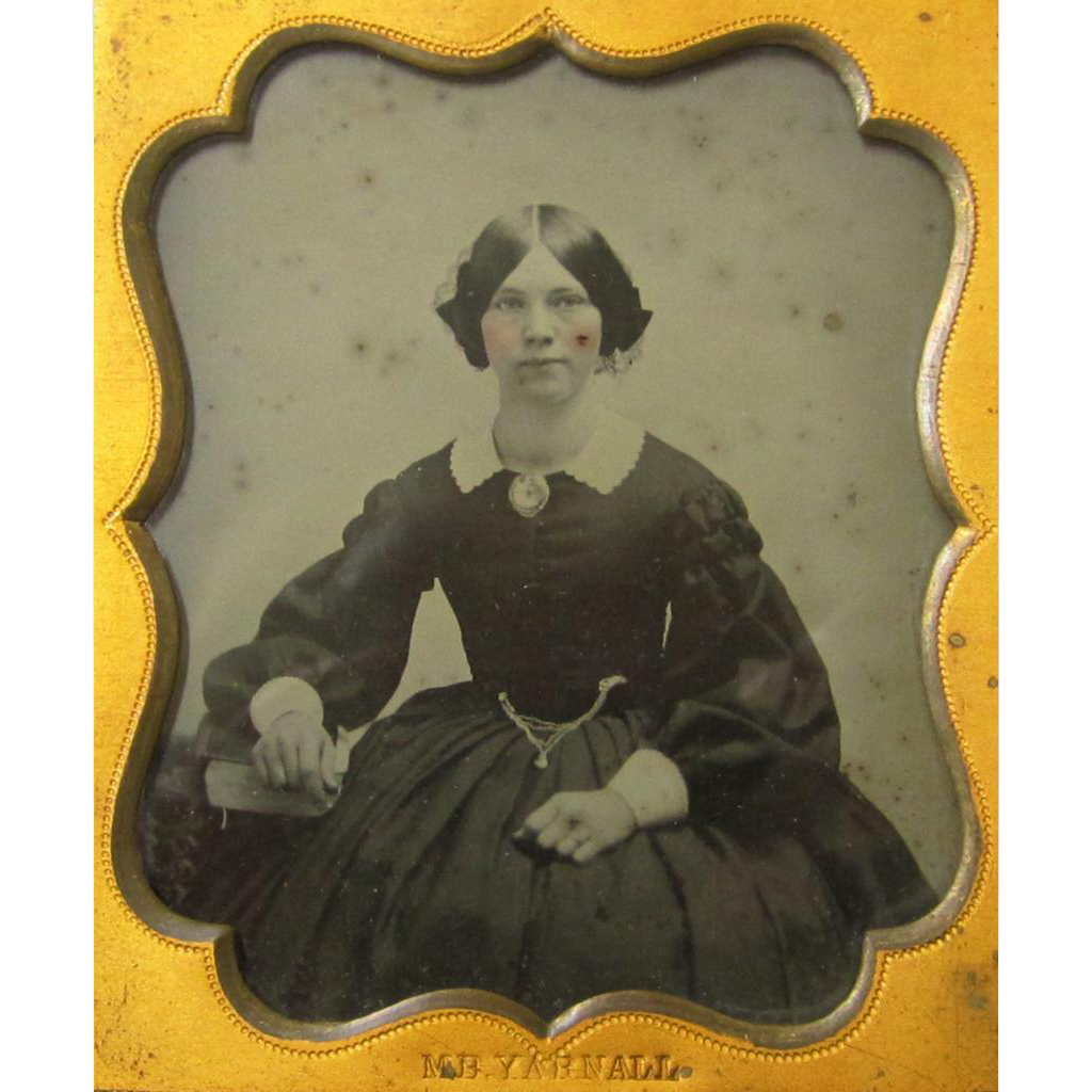 Hand Coloured Ambrotype Of Pretty Girl With Watch