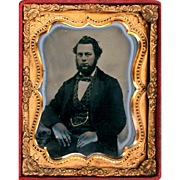 Hand-coloured Ruby Ambrotype of Gentleman with Watch Chain, Ninth Plate, c1860