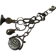 Ultra Rare Bed Drape Watch Hook with Chain & Seals, Steel, 18th Century