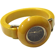Golden Yellow Bangle Watch by Royal Dynasty, Vintage