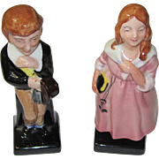 Pair of Dickens Miniature Figurines, Little Nell & David Copperfield, Royal Doulton, Vintage