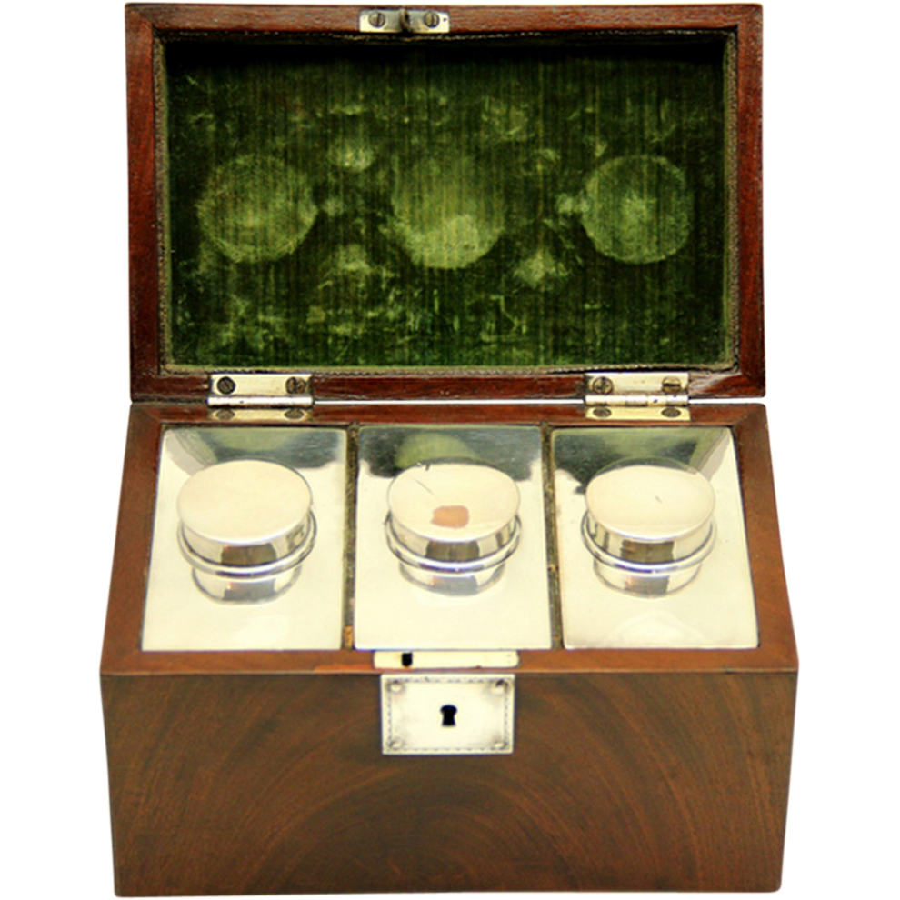 Flame Mahogany Tea Chest/Tea Caddy with silver-plate canisters, c1820