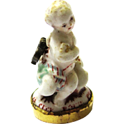 Exquisite Ceramic Pendant/Breloque Angel with Integral Seal, mid-18th Century