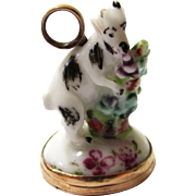 Exquisite Ceramic Pendant/Breloque of a Feeding Goat with Integral Intaglio Seal, mid-18th Century