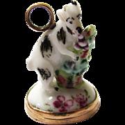 Exquisite Ceramic Pendant/Breloque of a Feeding Goat with Integral Intaglio Seal, mid-18th Century