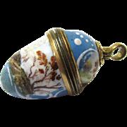 Tiny Enamel Bonbonniere or Cachou Box with Gilt Mounts, Egg-form, 18th Century