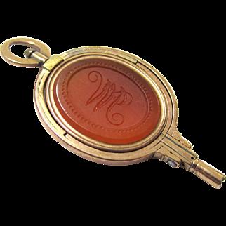 Rare Triple-swiveling Carnelian & Gold Seal & Watch Key, Georgian