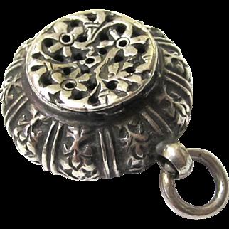 Vinaigrette/Pot Pourri Pendant, Antique Silver, 19th Century