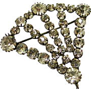 Sparkling Diamante/Rhinestone Fan-shaped Brooch, early 20th Century