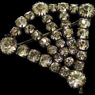 Sparkling Diamante/Rhinestone Fan-shaped Brooch, early 20th Century
