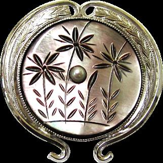 Mother of Pearl & Silver Metal Brooch or Pendant, Vintage